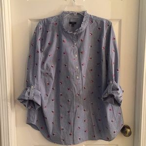 Talbots 2X blue checked tunic top